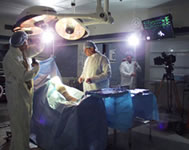 Bill Chvala and crew in a state-of-the-art operating room.