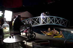 The crew films the Lazy River at Fun Plex on a very cool May evening.