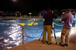 Filming in the Motion Ocean. Real troopers in the water.