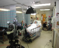 Setting up a tracking shot in Intensive Care at Good Samaritan Hospital.