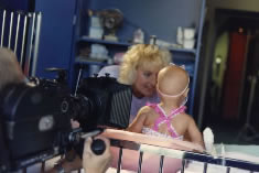 Filming baby in crib (from another angle) at Children's Hospital.