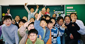 Bill Chvala with a class of youngsters in South Korea.