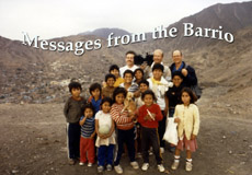 Bill Chvala and kids take time to pose for a still in barrios surrounding Lima, Peru.