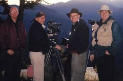 Crew shooting mountain silhouettes. (L-R): Columban Fr. Tom Browning, Bill Chvala, Ron Chvala and Terry Field.